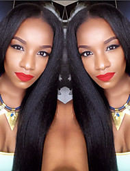 cheap -Human Hair Lace Front Wig style Brazilian Hair Straight Yaki Wig 130% Density with Baby Hair Natural Hairline African American Wig 100% Hand Tied Women's Short Medium Length Long Human Hair Lace Wig