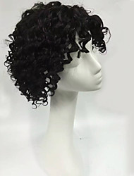 cheap -Human Hair Machine Made Wig With Bangs style Curly Wig 130% Density Natural Hairline Middle Part African American Wig 100% Hand Tied Women's Short Medium Length Human Hair Capless Wigs