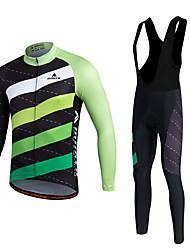 cheap -Miloto Men's Long Sleeve Cycling Jersey with Bib Tights White Stripes Bike Clothing Suit Thermal / Warm Fleece Lining Breathable 3D Pad Quick Dry Winter Sports Polyester Fleece Silicon Stripes