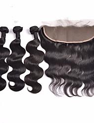 cheap -Indian Hair Body Wave Virgin Human Hair Hair Weft with Closure Human Hair Weaves Human Hair Extensions