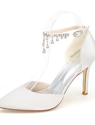 cheap -Women's Wedding Shoes Glitter Crystal Sequined Jeweled Plus Size Taller - Height Increasing Elevator Shoes Pointed Toe Basic Pump Wedding Party & Evening Null Satin Rhinestone Buckle Summer White