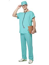abordables -Déguisement Halloween Homme Infirmière Costume de Cosplay Costume de Soirée Halloween Blanc Vert Costumes Carnaval / Haut