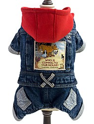 cheap -Dog Jumpsuit Denim Jacket / Jeans Jacket Dog Clothes Jeans Blue Denim Costume For Spring &  Fall Winter Men's Women's Cowboy Fashion