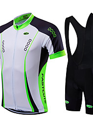 cheap -Fastcute Men's Short Sleeve Cycling Jersey with Bib Shorts Green Blue Light Green Bike Jersey Bib Tights Clothing Suit Breathable Quick Dry Sports Coolmax® Lycra Fashion Mountain Bike MTB Road Bike