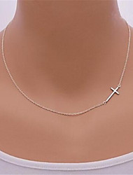 cheap -Women's Pendant Necklace Sideways Cross Cross Cheap Dainty Ladies Simple Sideways Sterling Silver Silver Alloy Golden Silver Necklace Jewelry For Party Daily Casual Sports