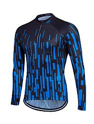 cheap -Fastcute Men's Women's Long Sleeve Cycling Jersey Winter Fleece Polyester Coolmax® Blue White Gradient Plus Size Bike Sweatshirt Jersey Top Mountain Bike MTB Road Bike Cycling Thermal / Warm Fleece
