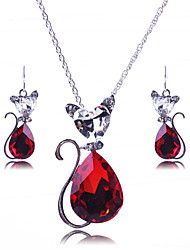 cheap -Women's Sapphire Jewelry Set Necklace / Earrings Pear Cut Statement Ladies Vintage European Fashion Earrings Jewelry Black / Red / Blue For Wedding Party Daily Casual Masquerade Engagement Party