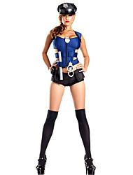 Недорогие -Жен. Полиция Карьера костюмы Полицейская форма Пол Косплэй Kостюмы Костюм для вечеринки Однотонный Рубашка Платье Носки