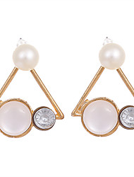 cheap -Women's Synthetic Opal Cat's Eye Earrings Geometrical Ladies Vintage Fashion Crystal Gold Plated Opal Earrings Jewelry Gold For Wedding Party Masquerade Engagement Party Prom Promise / Pearl