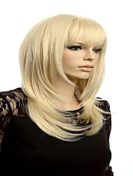 cheap -fashion blonde medium wig female wigs cosplay long blonde wig with bangs women natural hair heat Halloween