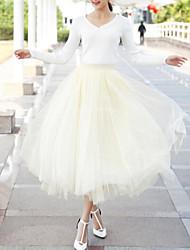 Недорогие -Жен. Тюлевая юбка Макси Качеля Подол Однотонный Бежевый Винный Светло-серый Один размер