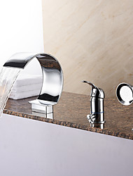 cheap -Unique Style Tub Waterfall / Handshower Included with Ceramic Valve 1-Handle 3-Holes for Chrome , Bathtub Faucet