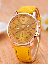 cheap -Women's Wrist Watch Quartz Quilted PU Leather Black / White / Blue Casual Watch / Analog Classic Casual Fashion - Pink Light Blue Khaki One Year Battery Life / Jinli 377
