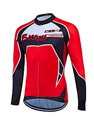 cheap -Fastcute Men's Women's Long Sleeve Cycling Jersey Winter Fleece Coolmax® 100% Polyester Patchwork Plus Size Bike Sweatshirt Jersey Top Mountain Bike MTB Road Bike Cycling Breathable Quick Dry