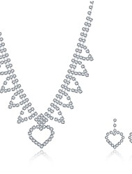 cheap -Women's Cubic Zirconia Jewelry Set Necklace / Earrings Bridal Jewelry Sets Personalized Tassel Vintage Party Casual Fashion Sterling Silver Zircon Cubic Zirconia Earrings Jewelry Silver For Wedding