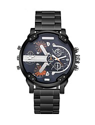 cheap -CAGARNY Men's Fashion Watch Wrist Watch Quartz Stainless Steel Black / White Dual Time Zones Cool Analog Luxury Vintage - Silver Yellow Blue