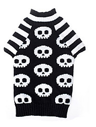 cheap -Cat Dog Sweater Dog Clothes Skull Black Woolen Costume For Winter Men's Women's Halloween