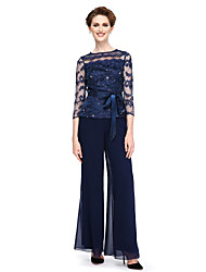 cheap -Pantsuit / Jumpsuit Bateau Neck Ankle Length Chiffon / Beaded Lace 3/4 Length Sleeve See Through / Elegant Mother of the Bride Dress with Bow(s) 2020 / Illusion Sleeve