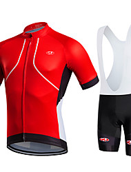 cheap -Fastcute Men's Short Sleeve Cycling Jersey with Bib Shorts Lycra Polyester Yellow Red Orange Plus Size Bike Bib Shorts Jersey Bib Tights Breathable 3D Pad Quick Dry Sweat-wicking Sports Solid Color