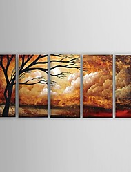 cheap -Oil Painting Hand Painted - Abstract Still Life Floral / Botanical Classic Pastoral Modern Stretched Canvas / Five Panels