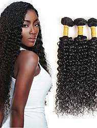 cheap -3 Bundles with Closure Brazilian Hair Curly Kinky Curly Human Hair Hair Weft with Closure Human Hair Weaves Human Hair Extensions / 8A