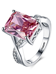 cheap -Women's Band Ring Statement Ring Synthetic Ruby Red Synthetic Gemstones Sterling Silver Zircon Ladies Personalized Unusual Wedding Party Jewelry Solitaire Emerald Cut Simulated Heart Love Cocktail
