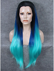 cheap -imstyle 30cheap smooth extra long straight lace wig synthetic blue ombre black root