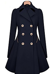 cheap -Women's Crew Neck Coat Long Solid Color Going out Work Streetwear Fall Winter Wool Black / Navy Blue / Khaki M / L / XL