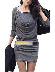 cheap -Women's Daily Weekend Mini Sheath Dress - Solid Colored Ruched Summer White Black Gray One-Size / Slim