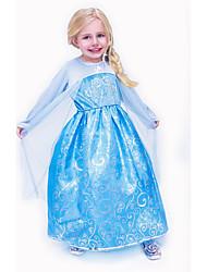 cheap -Kids Girls' Daily Jacquard Halloween Long Sleeve Dress Blue