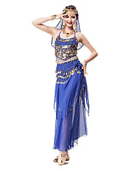cheap -Belly Dance Outfits Women's Performance Chiffon / Sequined / Metal Sequin / Sashes / Ribbons / Gold Coin Sleeveless Natural Sexy Global Gals Top / Skirt / Headwear