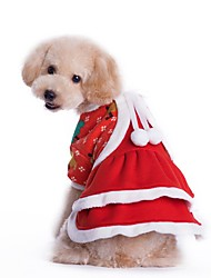 cheap -Cat Dog Costume Dress Winter Dog Clothes Red Costume Corduroy Solid Colored Cosplay Christmas XS S M L XL