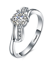 cheap -Women's Band Ring Cubic Zirconia Silver Sterling Silver Zircon 18K Gold Personalized Vintage Fashion Wedding Party Jewelry / Hypoallergenic