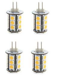 abordables -4pcs LED à Double Broches 300-400 lm G4 T 18 Perles LED SMD 5050 Décorative Blanc Chaud Blanc Froid 12 V / 4 pièces / RoHs / CE