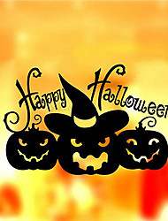 cheap -Happy Halloween Pumpkin Witch Wall Sticker Removable Decal Decor Window Room Decoration