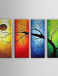 cheap -Oil Painting Hand Painted - Abstract / Landscape / Still Life Pastoral / Modern / European Style Canvas / Four Panels