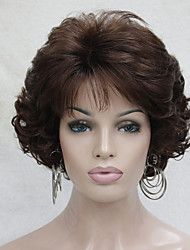 cheap -Synthetic Wig Curly Wavy Curly With Bangs Wig Short Auburn Synthetic Hair Women's Middle Part Brown
