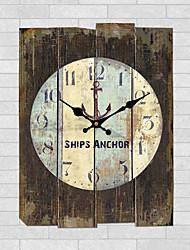 Недорогие -Модерн Семья Настенные часы,Квадратный Дерево 30*30*3cm В помещении Часы