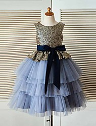 cheap -Ball Gown Tea Length Flower Girl Dress - Tulle / Sequined Sleeveless Jewel Neck with Sash / Ribbon