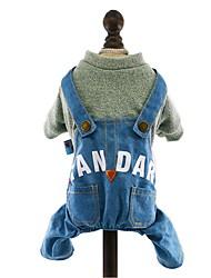cheap -Dog Jumpsuit Denim Jacket / Jeans Jacket Winter Dog Clothes Light Blue Yellow Pink Costume Cotton Denim Jeans Cowboy Fashion XS S M L XL