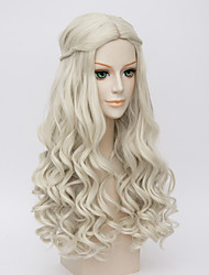 cheap -Synthetic Wig Cosplay Wig Wavy Kardashian Wavy Wig Long Very Long White Synthetic Hair Women's Middle Part Braided Wig White