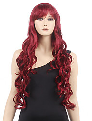 cheap -Synthetic Wig Body Wave Body Wave Wig Long Burgundy Synthetic Hair Women's Red