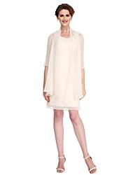 cheap -Sheath / Column Mother of the Bride Dress Convertible Dress Scoop Neck Knee Length Chiffon Half Sleeve with Pleats 2021