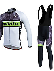cheap -Miloto Men's Women's Long Sleeve Cycling Jersey with Bib Tights Winter Fleece Polyester Silicon Black / White Plus Size Bike Pants / Trousers Jersey Tights Thermal / Warm Fleece Lining Breathable 3D