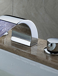 cheap -Contemporary Art Deco/Retro Modern Widespread Waterfall Widespread LED Ceramic Valve Two Handles Three Holes Chrome, Bathroom Sink Faucet