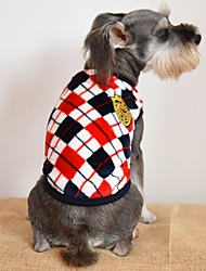 cheap -Cat Dog Shirt / T-Shirt Winter Dog Clothes Yellow Red Gray Costume Flannel Fabric Plaid / Check Casual / Daily Fashion XS S M L XL XXL