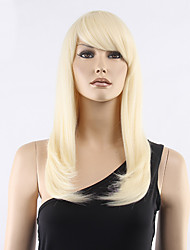 cheap -Synthetic Wig Straight Straight With Bangs Wig Blonde Medium Length Light Blonde Synthetic Hair Women's Blonde