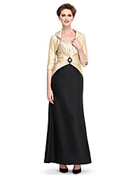 cheap -Sheath / Column Mother of the Bride Dress Convertible Dress Strapless Ankle Length Taffeta 3/4 Length Sleeve with Criss Cross Beading Draping 2021