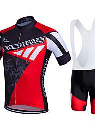 cheap -Fastcute Men's Short Sleeve Cycling Jersey with Bib Shorts Lycra Polyester Red+Black White Orange Plus Size Bike Bib Tights Clothing Suit Breathable 3D Pad Quick Dry Sweat-wicking Sports Sports