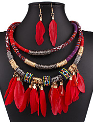 cheap -Women's Jewelry Set Drop Earrings Statement Necklace Stacking Stackable Ethnic Elegant Festival / Holiday Native American fancy Feather Earrings Jewelry Black / Red / Blue For Wedding Party Daily